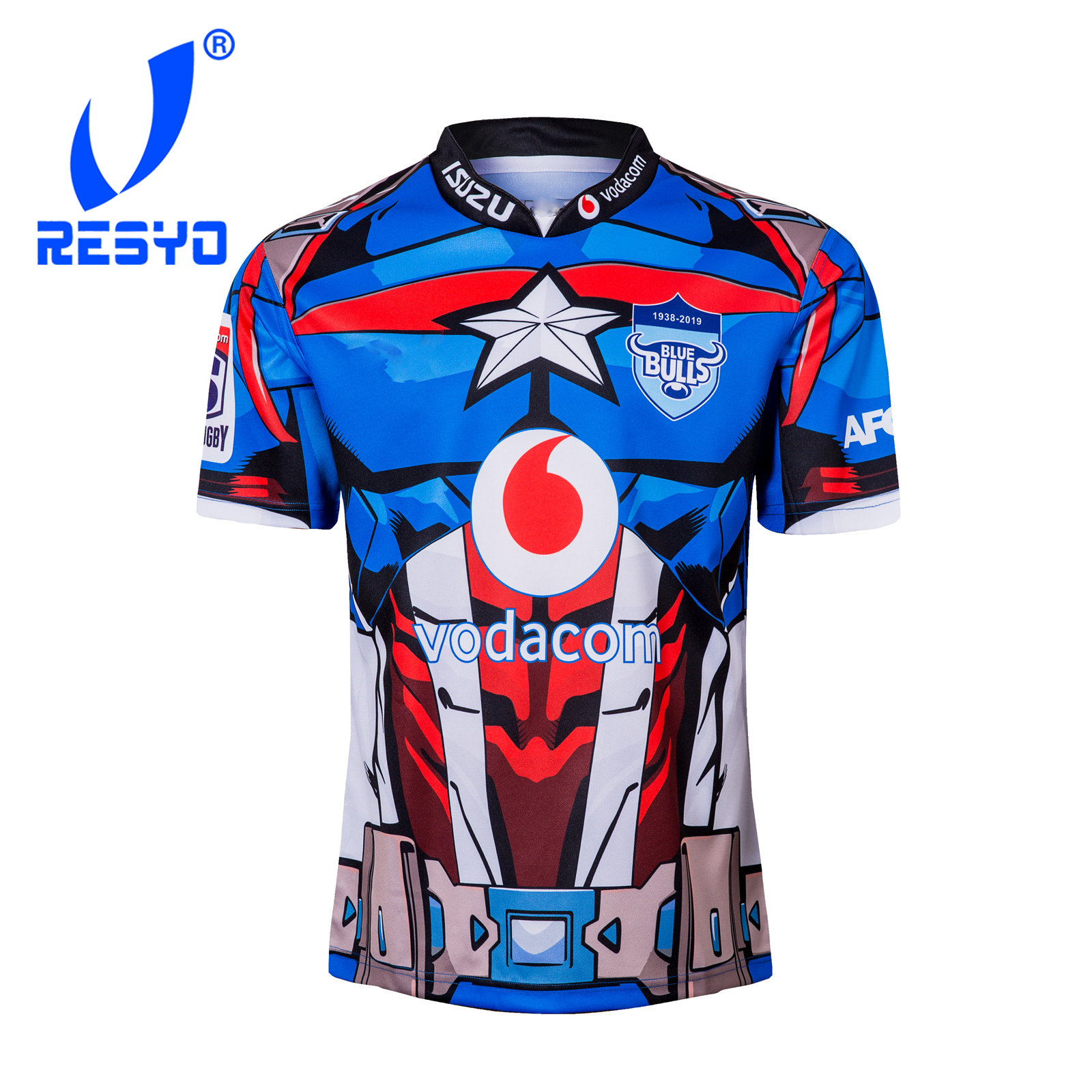 RESYO For 2019 Super Rugby XV Northern Blue Bulls Heroes Version Men's RUGBY JERSEY  Sport Shirt Size:S-3XL Free Shipping