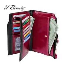 Ladies Top quality Oil waxed Cow Leather wallet fashion vintage genuine multi functional organizer UBTY0001