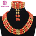 Dubai African Jewelry Set Gold Plated Coral Beads Necklace Set Nigerian Wedding African Beads Jewelry Set Free Shipping ABF327