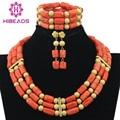 Dubai Africano Plateado Oro de la Joyería de Coral Perlas Collar de La Boda de Nigeria Perlas Africanas Joyería Conjunto Envío Gratis ABF327