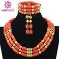 Dubai Conjunto de Jóias Africano Banhado A Ouro Conjunto Colar de Contas De Coral Nigeriano Casamento Beads Africanos Jóias Set Frete Grátis ABF327