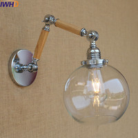 IWHD Vintage Industrial Led Wall Light Bedroom Bathroom Wall Lamp Retro Glass Ball Luminaire On The Wall Sconce Lampara De Pared
