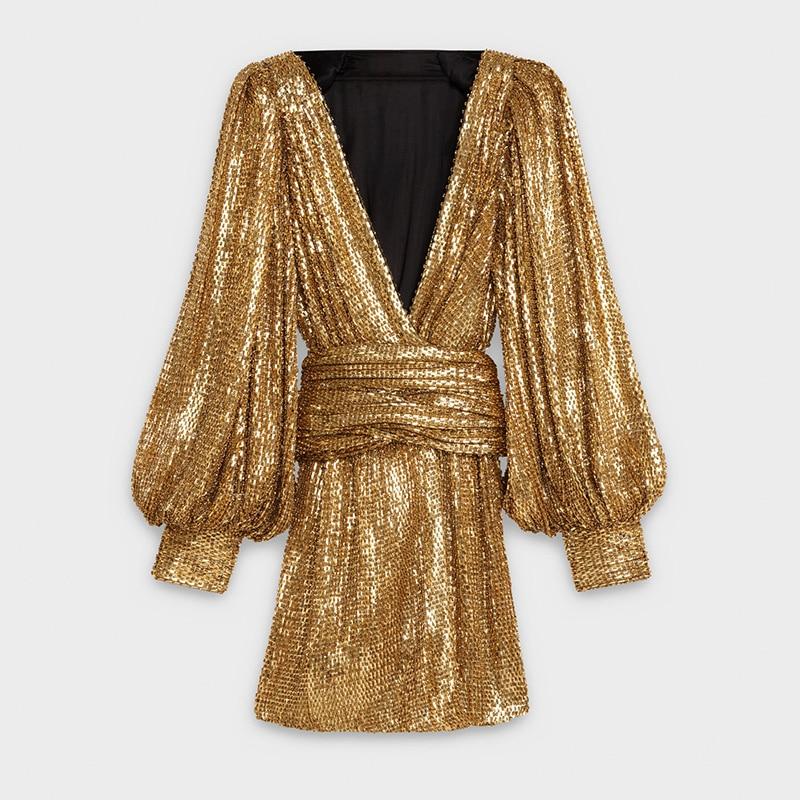 Vintage Rétro Manches Femmes Robes Lanterne Sexy Or cou Paillettes Élégant Profonde Soirée De V Robe CexBord