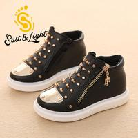 2016 Fall Hot Sale Children Fashion Shoes Girls Boys High Top Rivet Boots Safty Quality Black
