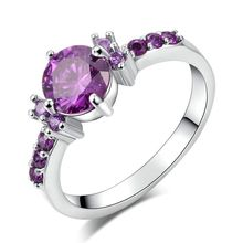 Silver plated Purple zirconia Jewelry rings For Women Engagement Wedding party ring Bague Bijoux Accessories MYR 199