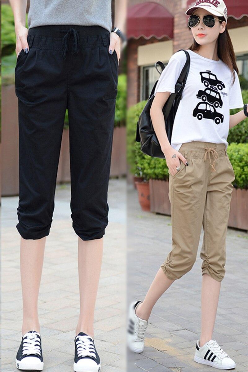 2017 New Summer Women Calf Length Harem   Pants   Colorful Casual Elastic Waist   Pants     Capris   Trousers Plus Size M-5XL