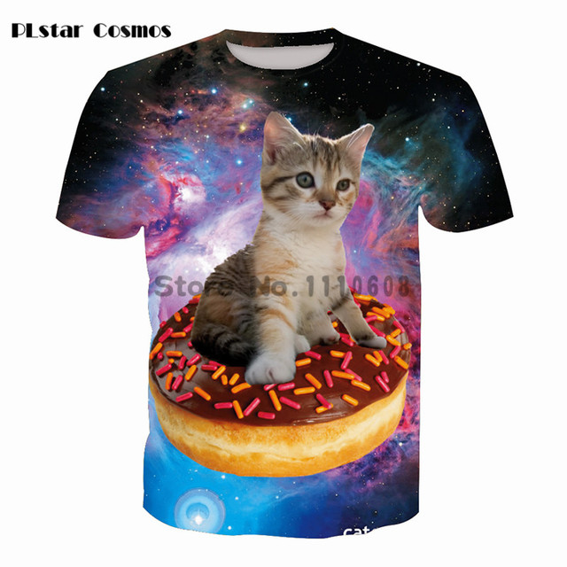 75d2ae8f7b53 PLstar Cosmos Women Tshirt Space Movement 3D Cute Cat Donuts Print Galaxy  Jumper Outfits Men T Shirt Animal T-Shirt tops tees