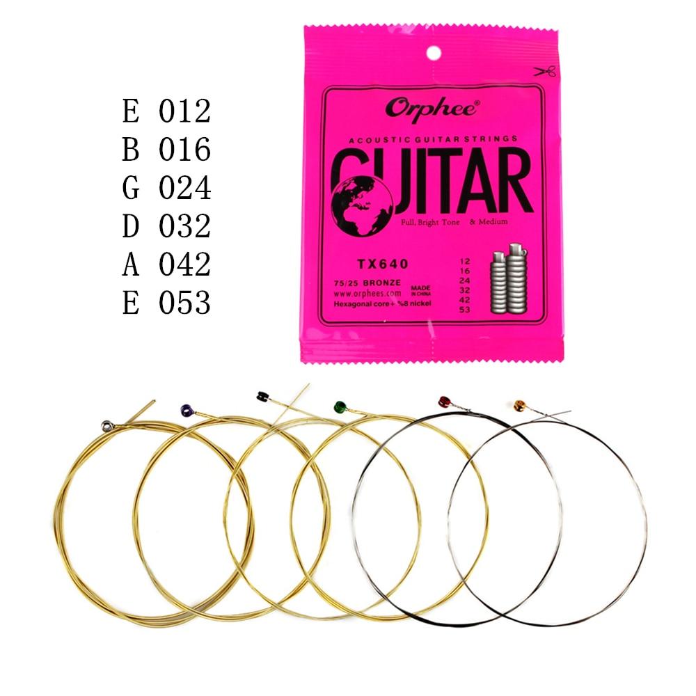 Orphee 6 pcs/ensemble Acoustique Guitare Cordes (012-053) avec Hexagonal Base Pleine Tonalité Lumineuse