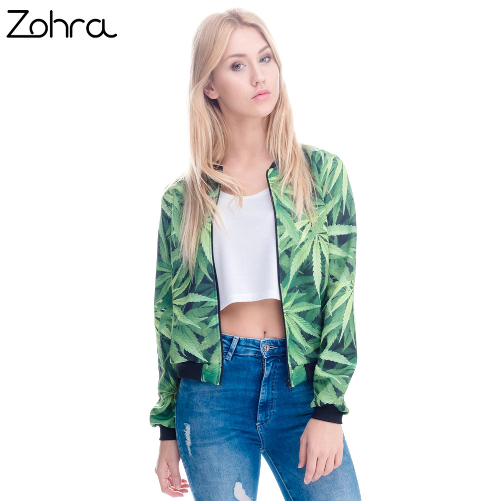 Zohra Women Bomber   Jacket   3D Printed Weeds Outwear Long Sleeve Short   Jacket   Coats Casual   Basic     Jackets