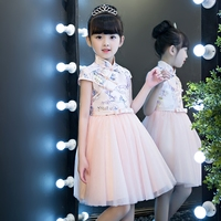 2017 New Korean Sweet Baby Girls Cheongsam Pricess Dresses Chinese Style Children S Printing Dresses Kids