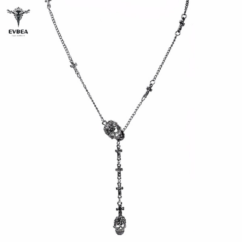 Outstanding Wedding Gift Maxi Power Skull Necklace Crystal Pendant  Long Hip Hop Choker for Women's Fashion Jewelry Accessories