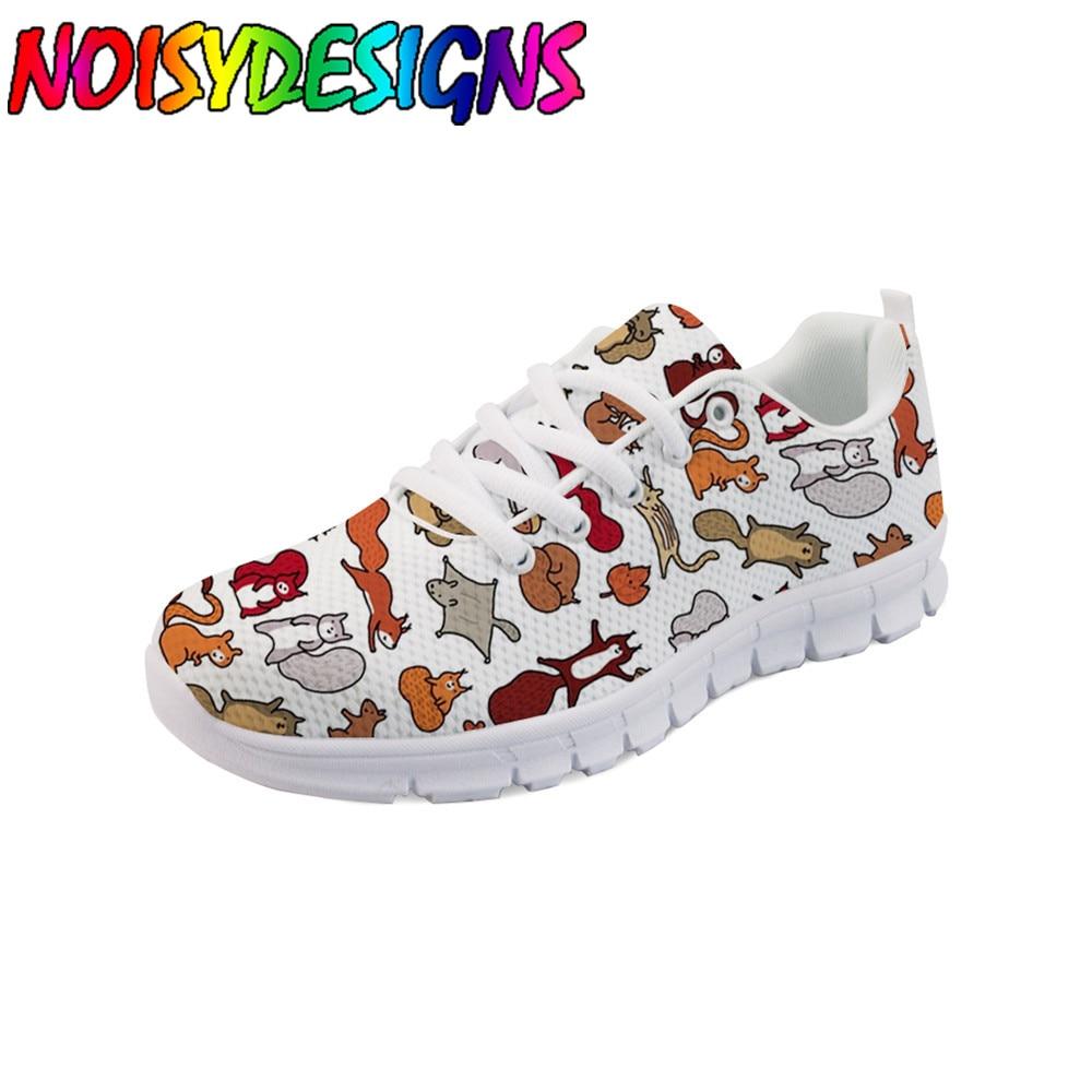 Écureuils en automne Doodle Art imprimer chaussures plates élégantes pour décontracté femmes baskets chaussures femme chaussures d'entraînement