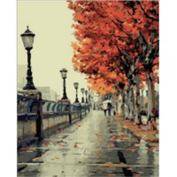 Frameless Picture DIY Digital Oil Painting Maple Leaves Canvas Home Wall Decor 40x50cm