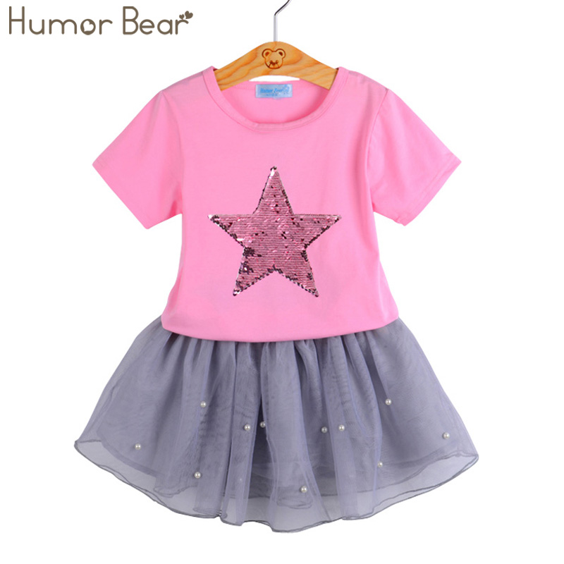 Humor Bear Girls Clothing Sets New Summer Fashion Style Sequin Stars T-Shirt + Dress 2Pcs Girls Clothes Sets Kids Clothes humor bear baby girl clothes new spring and autumn long sleeve t shirt pink princess dress kids clothes girls clothing