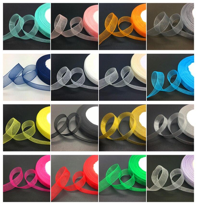 50 ярдов/рулон мм 5/8 «15 мм широкий органза лента бант свадебные украшения кружева ремесла выбрать цвет