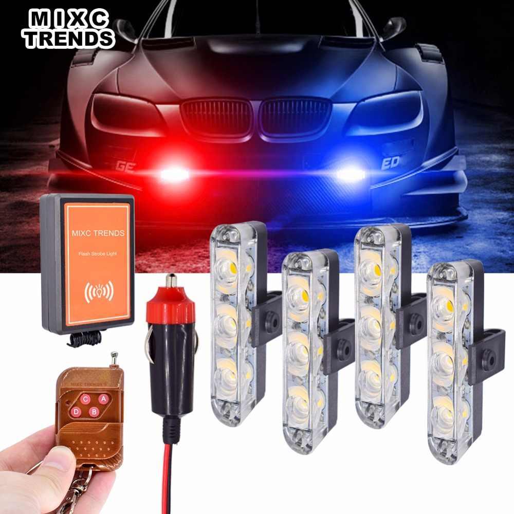 4X3 LEDs Flash Strobe Luzes De Emergência Com Controle Remoto Aviso Piscando Luzes LED Para O Caminhão Do Carro Da Polícia Ambulância Motercycle