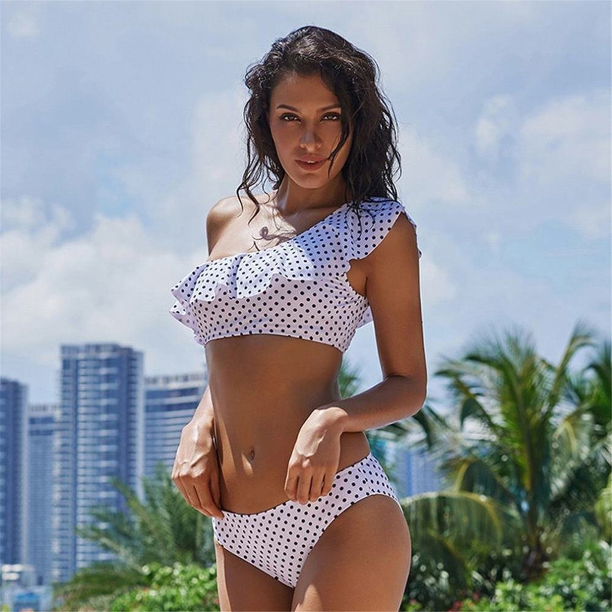2018 One Shoulder Flounce Bikini bickinis mujer Ruffle Swimwear Dot Printing Brazilian Bikini Set Striped Print bickinis mujer high quality l15y 20pcs 6 3mm copper male wire splice crimp terminal spade connector