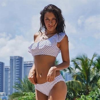 2018 One Shoulder Flounce Bikini  bickinis mujer Ruffle Swimwear Dot Printing Brazilian Bikini Set Striped Print bickinis mujer printing off the shoulder flounce dress