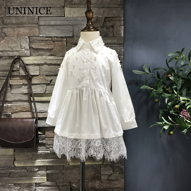 New Arrival 2017 Autumn Girls Dress Long Sleeve Kids Girls Dress Pearl Lace Blouse Dresses for Girl Clothing Children's Clothes new arrival spring autumn children s dress girl long sleeve lace dress party dresses girl girls clothes 5 10y