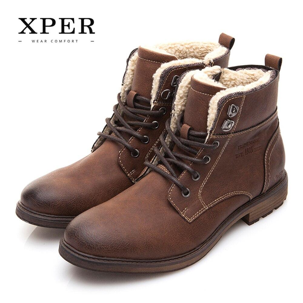 Xper Брендовая Мужская обувь осень-зима Мужские ботинки Модные Винтажные стиль мужской Мотоциклетные ботинки с высоким вырезом мужская повседневная обувь # XHY12511BR