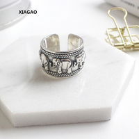 XIAGAO 925 Sterling Silver Ring Opening Cute Elephant Totem Ring Punk Style Vintage Silver Jewelry Bijoux