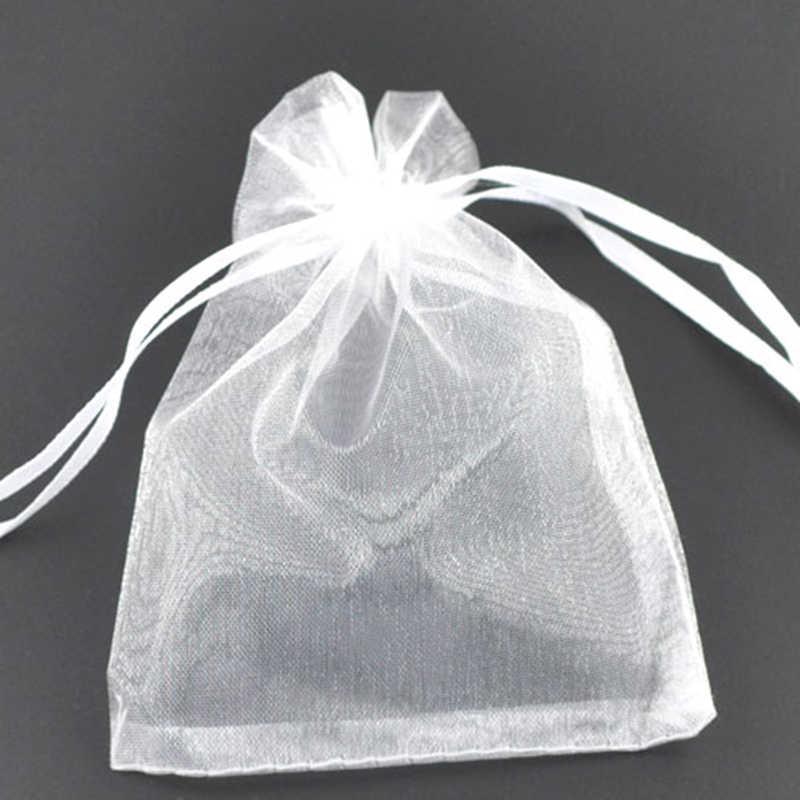 DoreenBeads sacchetto del Regalo & bag, organza, bianco, con sorteggio, matrimonio, 9x7 cm. 5 pz