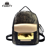 New Snake PU Leather font b Women b font Backpack Female Fashion font b Rucksack b