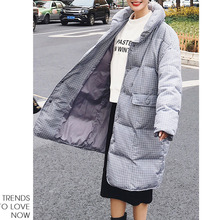 LANMREM New Fashion Oversize High Collar Plaid Winter Jacket 2018 Female's Loose Big Size Long Type Coat Jaqueta Feminina YE642