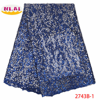 Blue Latest French Lace Fabric 2019 High Quality Wedding African Lace Fabric With Sequins For Nigerian Lace Material XY2743B-1