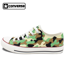 Army Camouflage Pattern Hand Painted Shoes Original Design Converse Chuck Taylor Low Top Canvas Sneakers for Man Woman