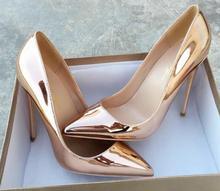 Super 12cm 10cm 8cm Thin High Heels Golden, silver Pointed Toe Women Pumps pu + Sheepskin Shallow Toe Woman Party Shoes
