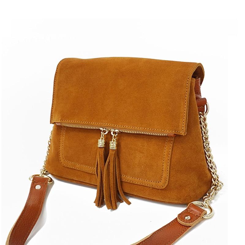 Fashion New Genuine Suede Leather Luxury Designer Women s Shoulder Crossbody Bags Folding Chain Satchel Bag