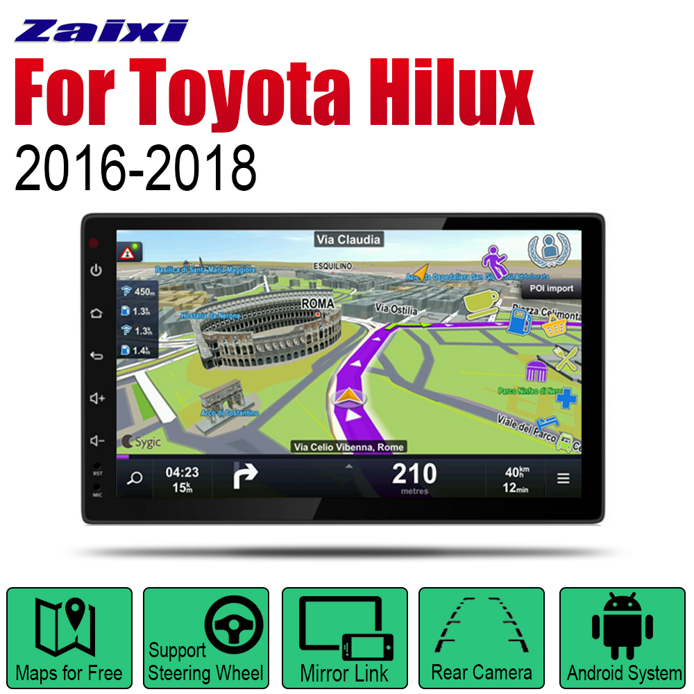 ZaiXi Android 2 Din Auto Radio For Toyota Hilux 2016 2018 Car Multimedia Player GPS Navigation System Radio Stereo in Car Multimedia Player from Automobiles Motorcycles
