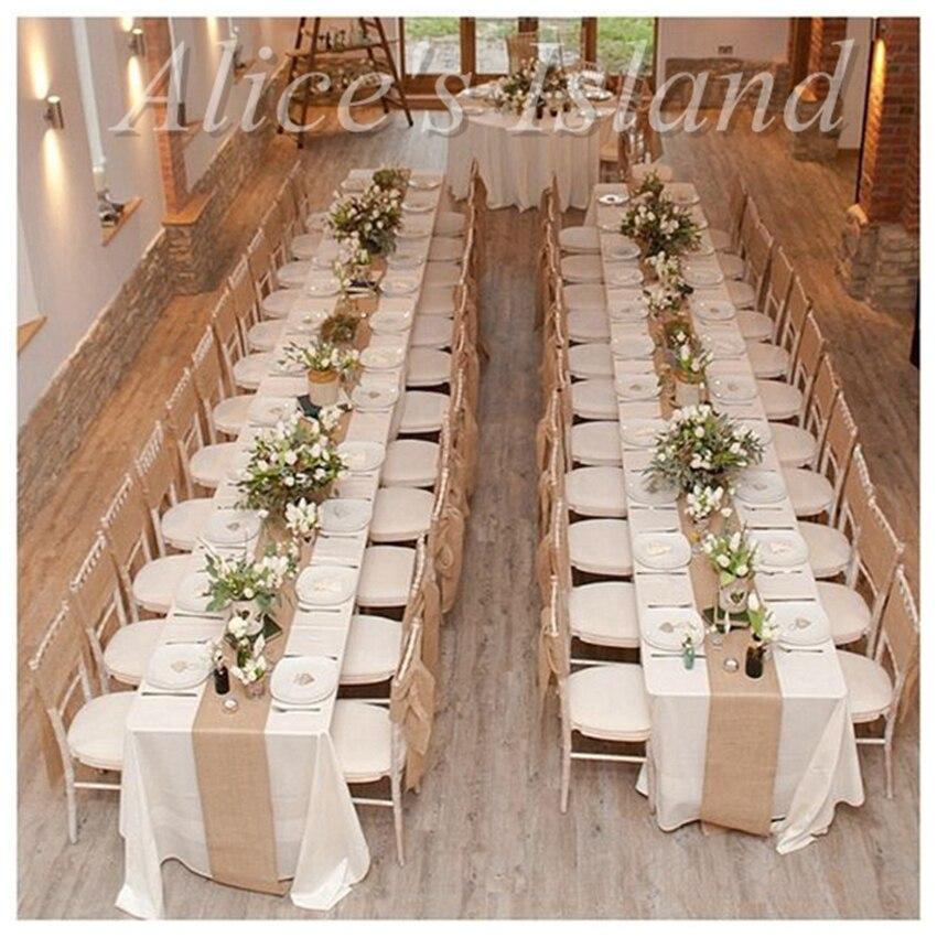 Us 1024 5 Off300x30 Cm Natürliche Sackleinen Jute Tischläufer Für Rustikale Klassische Weinberg Hochzeit Tisch Dekoration Tisch Stuhl