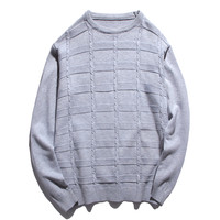 New Men Solid Color Plaid Sweater Round Neck Casual Long Sleeve Knitted Male Autumn Winter New