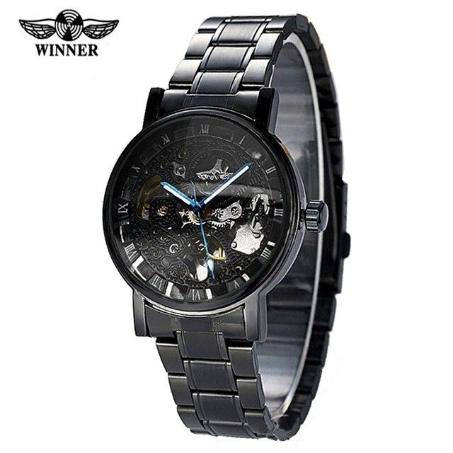 0020e8808a4 Vencedor de Luxo Da Marca Relogios masculinos Preto Esqueleto Mecânico  Automático Relógios Homens Steampunk Relógio Relógio