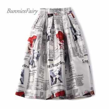 BunniesFairy 2019 Autumn 50s 60s Vintage Retro Lady Newspaper Print High Waist Pleated Flare Midi Skirt Saia Longa Plissada