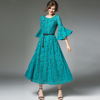 Multiflora Spot 9388 Europe Early Autumn New Trumpet Sleeve Retro Temperament Dress Hollow Lace Dress