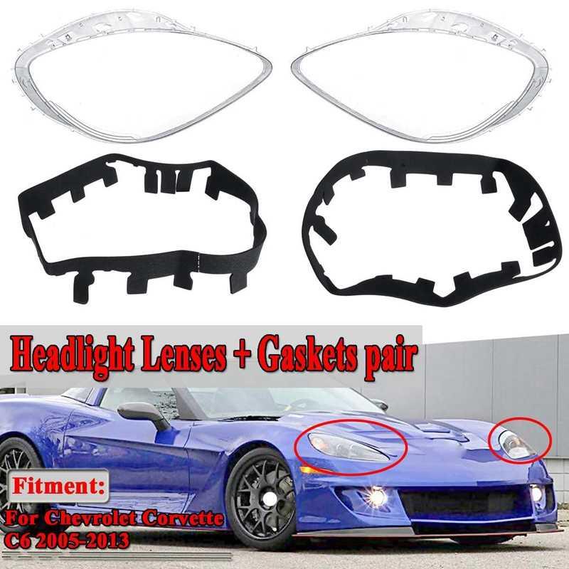 2 шт. Автомобильная прозрачная фара крышка объектива Запасная прокладка головной свет крышка лампы для Chevrolet Corvette C6 2005-2013