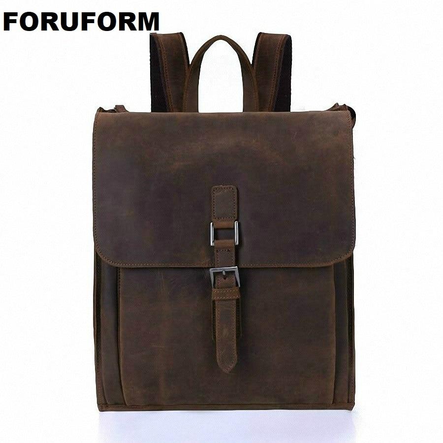 FORUFORM Crazy Horse Cowhide Men Backpack Genuine Leather Vintage Travel Casual School Book Bags Brand Male Laptop Bags LI-1927