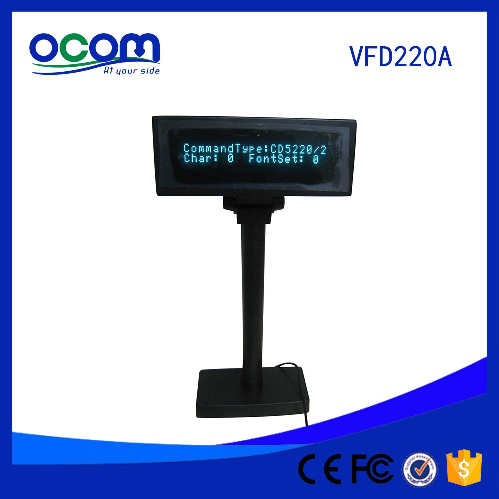 Factory Price Electronic 2 Lines VFD Display Pole Adjustable Customer Display for Supermarket POS System USB port