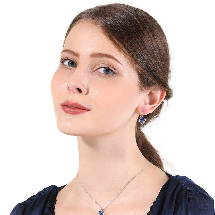 HTB1e4TXbwKG3KVjSZFLq6yMvXXa6 Warme Farben Crystal from Swarovski 925 Silver Earrings Drop Earring Square Cube Dangle Earring Fine Jewelry Gift Lady Brincos