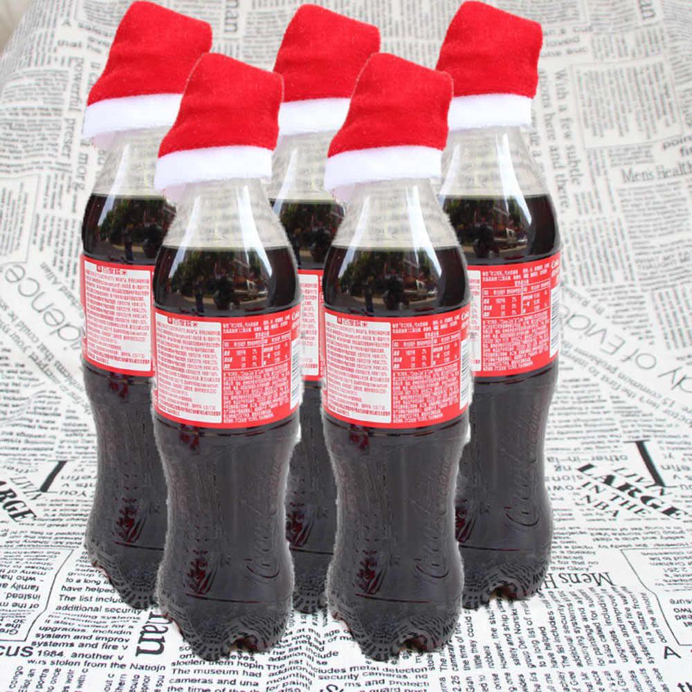 Lote de 10 unidades de bolsas para cubertería con diseño de gorro para Navidad, bolsas para regalo de caramelo, cuchillo con bolsillo, soporte para dulces, vajilla decorativa para mesa o cena