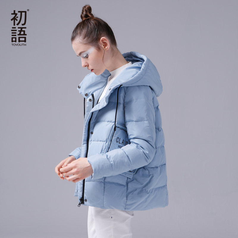 Toyouth Ultra Light Short   Down     Coats   White 80% Duck   Down   Jackets Hooded Letter Printed Parkas Big Pockets Blue Casaco Feminino