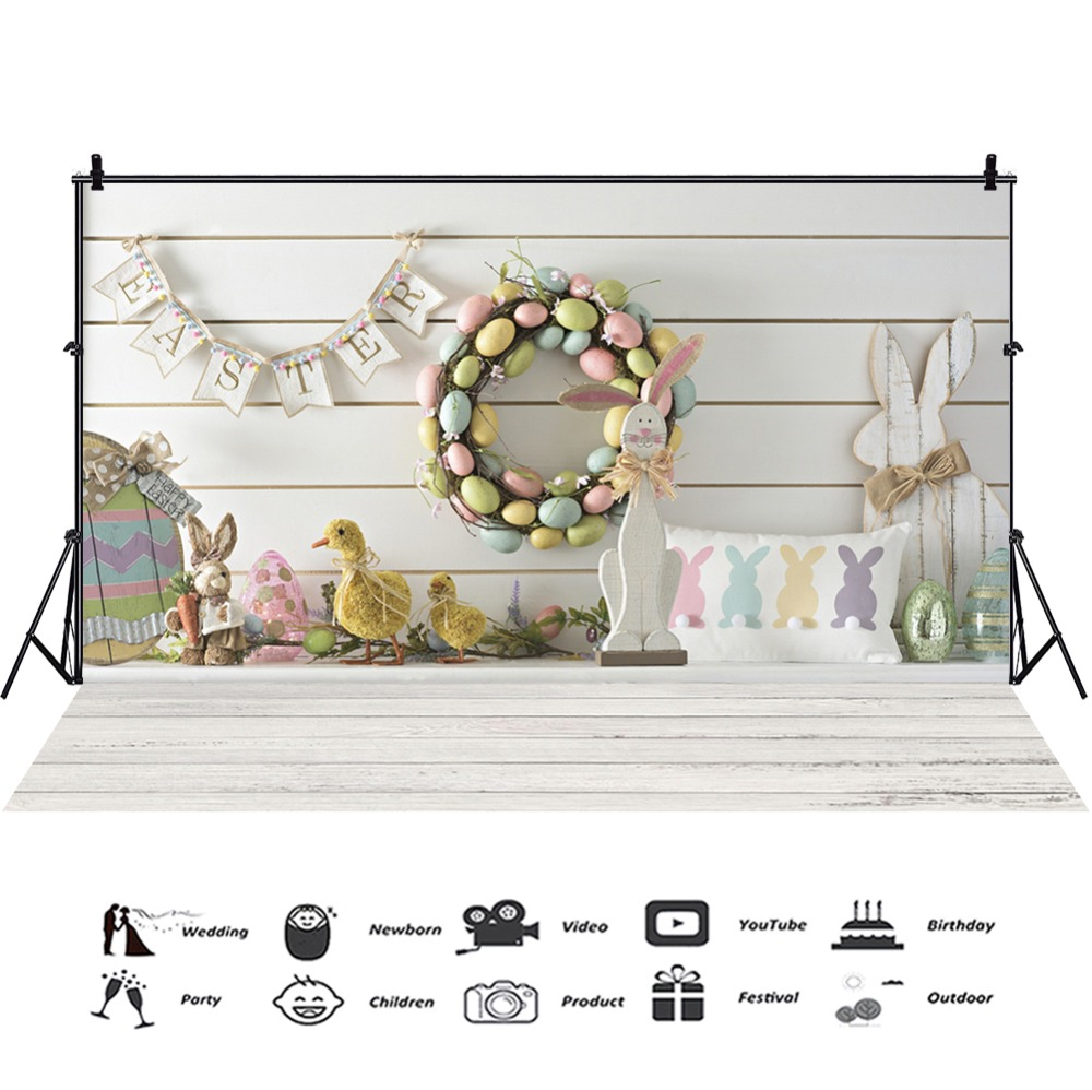 Laeacco Easter Backdrops Gray Wooden Floor Eggs Chick Rabbit Wreath Baby Party Portrait Photography Backgrounds For Photo Studio