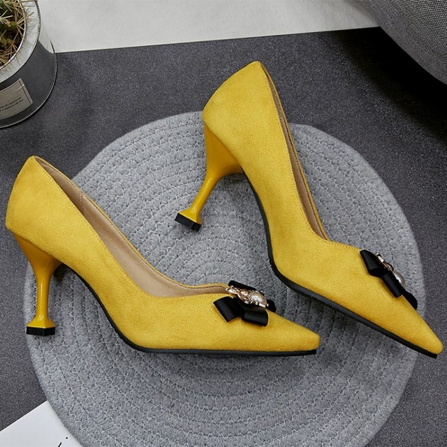 Yellow Bowknot and Honey Pointed Toe Women Pump Shoes Stilettos High Heels Slip-on Shoes Women  Evening Party Shoes BigSize34-48