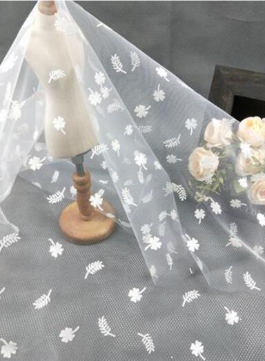 20 Styles white Flocking Doted Lace Fabric Snowflakes Veil Lace Tulle Gauze 59\u201c Wide For Dress Veil Custom Headwear Supplies By The Yard