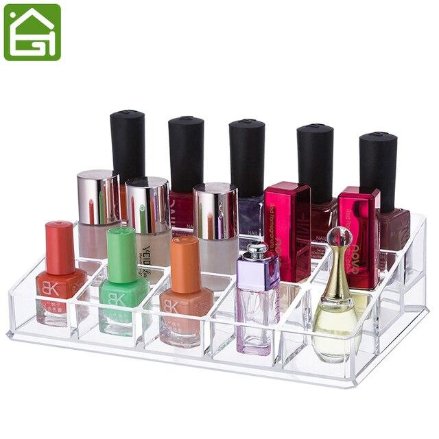 15 slots transparent cristal acrylique organisateur cosm tique maquillage bo te de rangement. Black Bedroom Furniture Sets. Home Design Ideas
