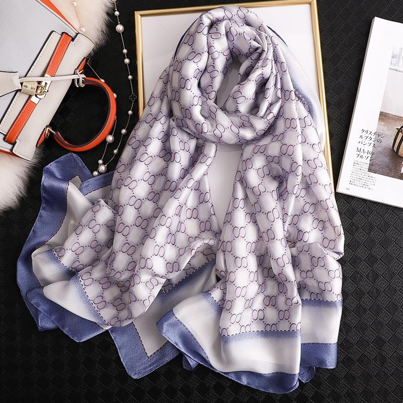 Luxury Brand Silk Scarf Women Simple Letter Print Shawls And Wraps Fashion Long Large Pashmina Ladies Sunscreen Scarfs Hijab