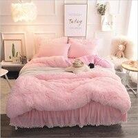 Розовая принцесса ветер кристалл бархат постельного белья супер теплая норка пододеяльник постельное белье юбка 3/4 шт.